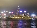 Ferry at night in Hong Kong