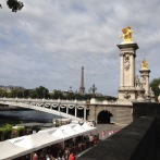 View across the market toward the Eiffel Tower in Paris